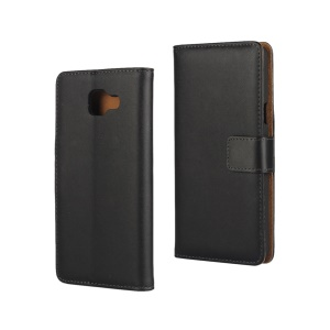 Split Leather Wallet Case for Samsung Galaxy A7 SM-A710F (2016) - Black