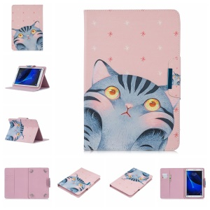 Universal Patterned 7-inch PU Leather Wallet Stand Tablet Case for Samsung Galaxy Tab A 7.0 / Huawei MediaPad M2 7.0 etc - Touching Face Cat