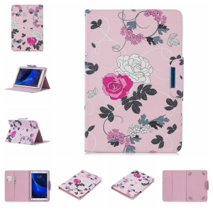 Universal Patterned 7-inch PU Leather Wallet Stand Tablet Case for Samsung Galaxy Tab A 7.0 / Huawei MediaPad M2 7.0 etc - Flowers