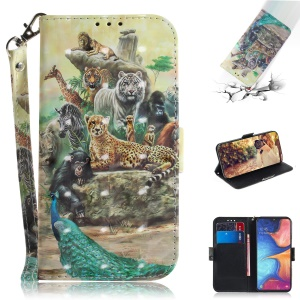 Pattern Printing Light Spot Decor Leather Wallet Stand Case for Samsung Galaxy A20e - Animal World