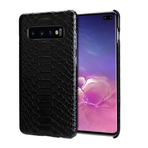 Snake Pattern PU Leather Coated PC Hard Casing for Samsung Galaxy S10 Plus - Black