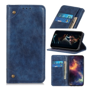 Crazy Horse Auto-absorbed Split Leather Wallet Shell for Samsung Galaxy A80 / A90 - Blue