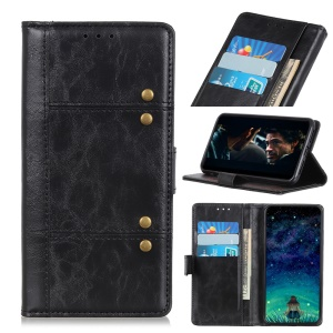 Rivet Decorated Leather Stand Wallet Cover for Samsung Galaxy A80 / A90 - Black