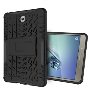 Tyre Skin Kickstand PC TPU Case for Samsung Galaxy Tab S2 8.0 T710 T715 - Black