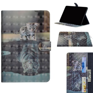 Light Spot Decor Patterned Leather Wallet Case for Samsung Galaxy Tab A 10.1 (2019) - Cat and Reflection in Water