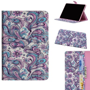 Light Spot Decor Patterned Leather Wallet Case for Samsung Galaxy Tab A 10.1 (2019) - Colorized Flowers