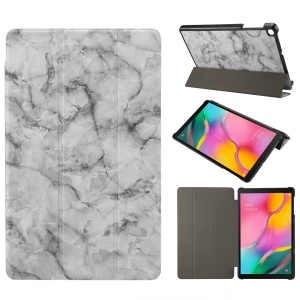 Marble Texture Tri-fold PU Leather Stand Tablet Cover for Galaxy Tab A 10.1 (2019) SM-T515 / SM-T510 - Grey