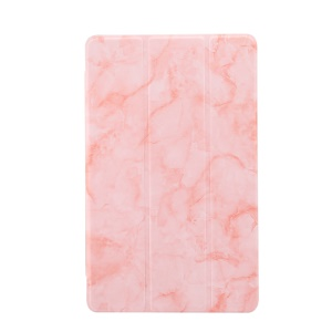 Marble Texture Tri-fold PU Leather Stand Tablet Cover for Galaxy Tab A 10.1 (2019) SM-T515 / SM-T510 - Pink