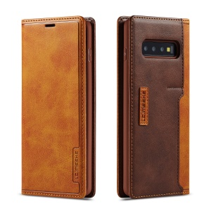 LC.IMEEKE LC-001 Leather Card Holder Case for Samsung Galaxy S10 Plus - Brown