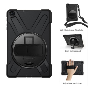 [Built-in Hand Holder Strap] 360° Swivel PC + Silicone Combo Kickstand Shell with Shoulder Strap for Samsung Galaxy Tab A 10.1 (2019) SM-T515 - Black