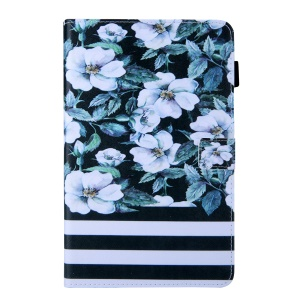 Pattern Printing Stand Leather Tablet Cover for Samsung Galaxy Tab S5e SM-T720 / SM-T725 - Flower and Stripes