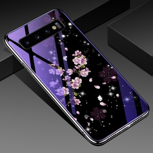 Eletroplating TPU Frame + Blue-ray Tempered Glass+ PC Back Plate Hybrid Case for Samsung Galaxy S10 Plus - Peach Blossom