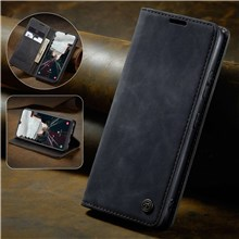 CASEME 013 Series Auto-absorbed Leather Wallet Stand Case for Samsung Galaxy A40 - Black