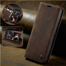 CASEME 013 Series Auto-absorbed Leather Wallet Stand Case for Samsung Galaxy A40 - Coffee