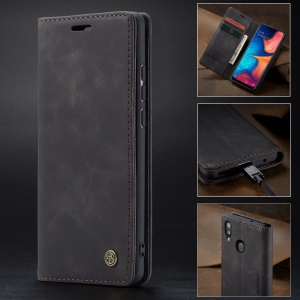 CASEME 013 Series Auto-absorbed Leather Wallet Case for Samsung Galaxy A20/A30 - Black