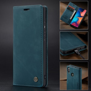 CASEME 013 Series Auto-absorbed Leather Wallet Case for Samsung Galaxy A20/A30 - Blue