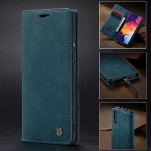 CASEME 013 Series Auto-absorbed Leather Wallet Case for Samsung Galaxy A50 - Blue