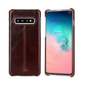 PIERRE CARDIN Stitched Genuine Leather Coated PC Phone Cover for Samsung Galaxy S10 - Coffee