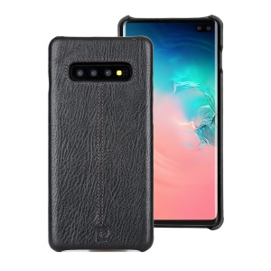 PIERRE CARDIN Stitched Genuine Leather Coated PC Mobile Cover for Samsung Galaxy S10 Plus - Black