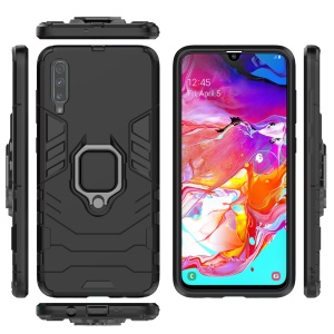 Cool Guard Ring Holder Kickstand PC TPU Hybrid Case for Samsung Galaxy A70 - Black