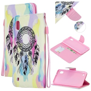 Pattern Printing Leather Wallet Case for Samsung Galaxy A10 - Dream Catcher