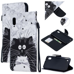 Pattern Printing Leather Wallet Case for Samsung Galaxy A10 - Black and White Cat