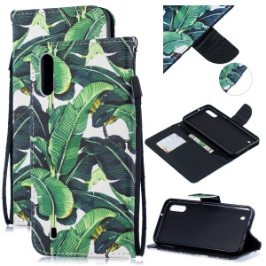 Pattern Printing Leather Wallet Case for Samsung Galaxy A10 - Leaf