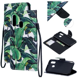 Pattern Printing Leather Wallet Case for Samsung Galaxy A40 - Leaf