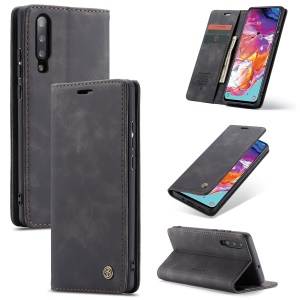 CASEME 013 Series Auto-absorbed Leather Wallet Stand Case for Samsung Galaxy A70 - Black