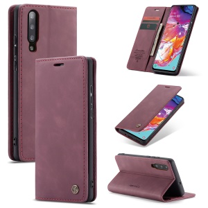 CASEME 013 Series Auto-absorbed Leather Wallet Stand Case for Samsung Galaxy A70 - Wine Red