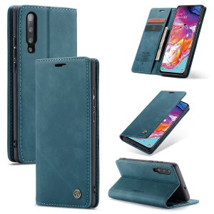 CASEME 013 Series Auto-absorbed Leather Wallet Stand Case for Samsung Galaxy A70 - Blue