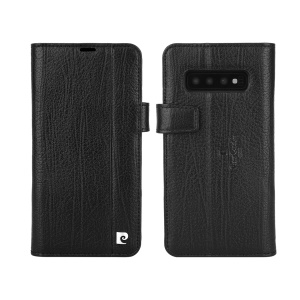 PIERRE CARDIN Litchi Skin Genuine Leather Phone Case with Card Slots for Samsung Galaxy S10 Plus - Black