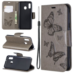 Imprint Butterfly PU Leather Wallet Flip Case with Strap for Samsung Galaxy A20e - Grey