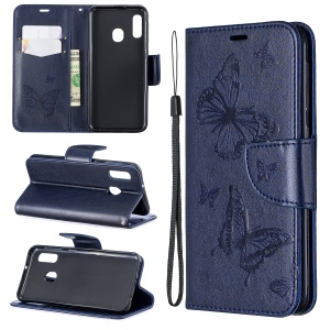 Imprint Butterfly PU Leather Wallet Flip Case with Strap for Samsung Galaxy A20e - Dark Blue