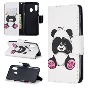Pattern Printing Leather Wallet Case for Samsung Galaxy A20e - Cute Panda
