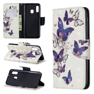 Pattern Printing Light Spot Decor Leather Wallet Case for Samsung Galaxy A20e - Beautiful Butterfly