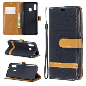 Jeans Cloth Leather Wallet Case for Samsung Galaxy A20e - Black