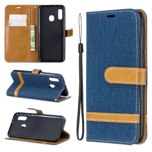 Jeans Cloth Leather Wallet Case for Samsung Galaxy A20e - Dark Blue