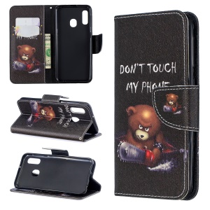 Pattern Printing Leather Wallet Case for Samsung Galaxy A20e - Brown Bear and Warning Words