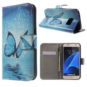 Leather Case Cover for Samsung Galaxy S7 G930 - Blue Butterfly on the Water