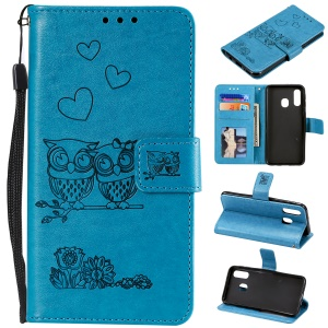 Imprinted Flower Owl Leather Wallet Case for Samsung Galaxy A20e - Blue