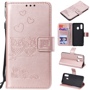 Imprinted Flower Owl Leather Wallet Case for Samsung Galaxy A20e - Rose Gold