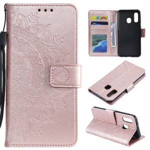 Imprint Mandala Flower Stand Wallet Leather Case for Samsung Galaxy A20e - Pink