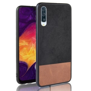 Bi-color Splicing PU Leather Coated PC TPU Hybrid Case Cover for Samsung Galaxy A70 - Black