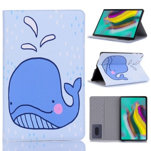 Pattern Printing Wallet Stand Leather Tablet Cover for Samsung Galaxy Tab S5e SM-T720 - Whale