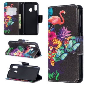Pattern Printing Wallet Leather Stand Case for Samsung Galaxy A20e - Crane and Flowers