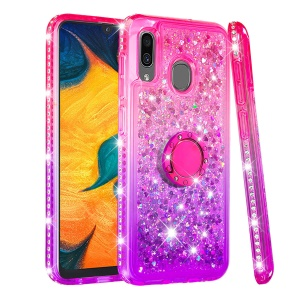 Rhinestone Decor Gradient Glitter Powder Quicksand TPU Shell with Finger Ring Buckle for Samsung Galaxy A30/A20 - Red/Purple