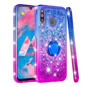 Rhinestone Decor Gradient Glitter Powder Quicksand TPU Casing with Finger Ring Buckle for Samsung Galaxy M30 - Blue/Purple