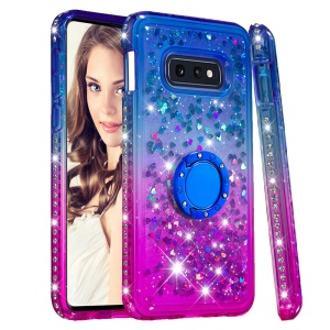 Rhinestone Decor Gradient Glitter Powder Quicksand TPU Shell with Finger Ring Buckle for Samsung Galaxy S10e - Blue/Purple