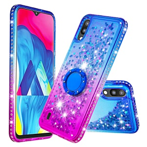 Rhinestone Decor Gradient Glitter Powder Quicksand TPU Cover with Finger Ring Buckle for Samsung Galaxy A10/M10 - Blue/Purple